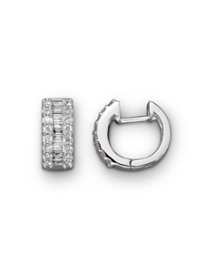 Round and Baguette Diamond Hoop Earrings in 14K White Gold, .85 ct. t.w. - 100% Exclusive - Bloomingdale's_0