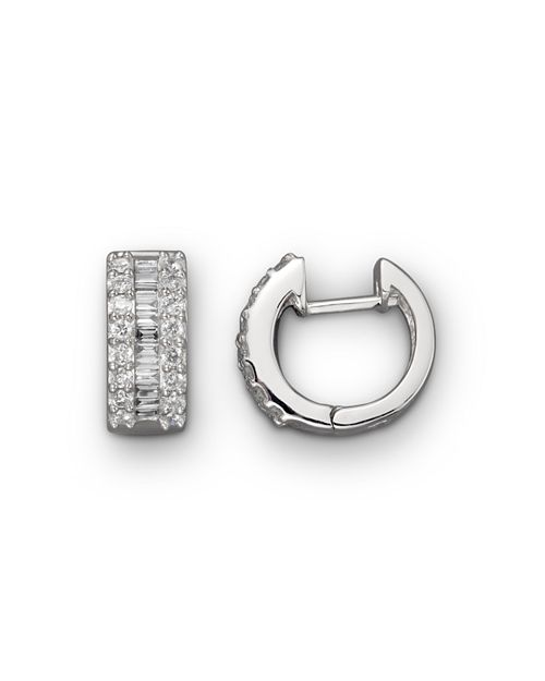 Bloomingdale's - Round and Baguette Diamond Hoop Earrings in 14K White Gold, .85 ct. t.w. - 100% Exclusive