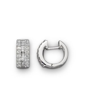 Round and Baguette Diamond Hoop Earrings in 14K White Gold, .85 ct. t.w. - 100% Exclusive