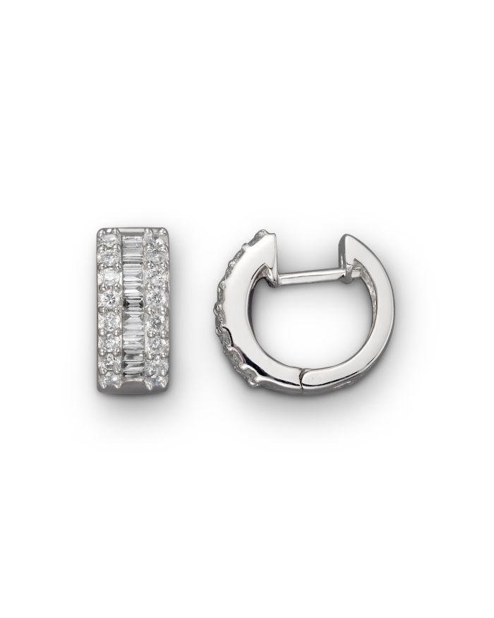 Bloomingdale's Round and Baguette Diamond Hoop Earrings in 14K White Gold, .85 ct. t.w. - 100% Exclusive  | Bloomingdale's