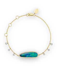 Meira T 14K Yellow Gold Oval Blue Opal and Diamond Bracelet - Bloomingdale's_0