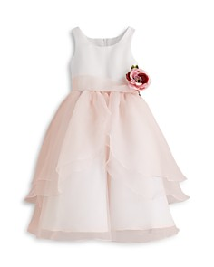 US Angels - Girls' Organza Flower Girl Dress - Big Kid