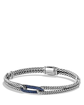 David Yurman - Petite Pavé Labyrinth Mini Loop Bracelet with Blue Sapphires