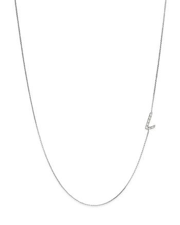 KC Designs - Diamond Side Initial L Necklace in 14K White Gold, .04 ct. t.w.
