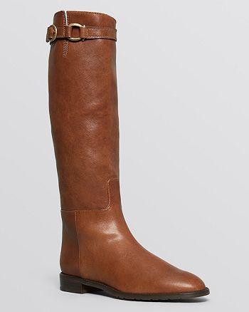 Stuart Weitzman - Pointed Toe Flat Riding Boots - Bronco