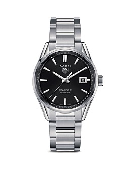 TAG Heuer - TAG Heuer Carrera Calibre 5 Stainless Steel and Black Dial Watch, 39mm