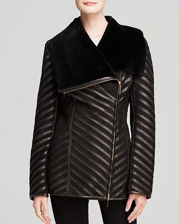 Maximilian Furs - Shearling Lamb Coat with Leather Inserts