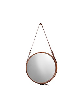 Jamie Young - Small Round Mirror, Brown Leather