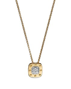 "Roberto Coin 18K Yellow and White Gold Square Pois Moi Pendant Necklace with Diamonds, 16.5"" - Bloomingdale's_0"