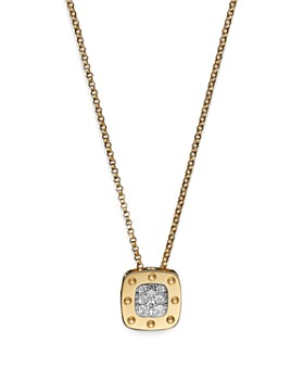 """Roberto Coin - 18K Yellow and White Gold Square Pois Moi Pendant Necklace with Diamonds, 16.5"""""""