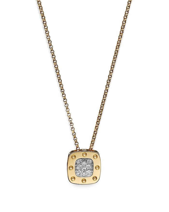 Roberto Coin - 18K Yellow and White Gold Square Pois Moi Pendant Necklace with Diamonds, 16.5""