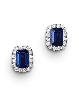 Bloomingdale's - Blue Sapphire and Diamond Halo Stud Earrings in 14K White Gold - 100% Exclusive