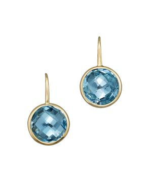 Blue Topaz Small Drop Earrings in 14K Yellow Gold - 100% Exclusive