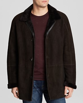 Maximilian Furs - Dyed Lamb Shearling Coat with Leather Trim