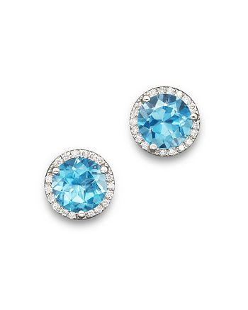 Bloomingdale's - Blue Topaz and Diamond Halo Stud Earrings in 14K White Gold - 100% Exclusive