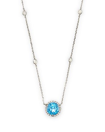 Bloomingdale's - Blue Topaz and Diamond Halo Pendant and Station Necklace in 14K White Gold - 100% Exclusive