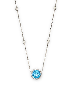 Blue Topaz and Diamond Halo Pendant Necklace with 4 Stations in 14K White Gold, 16 - 100% Exclusive