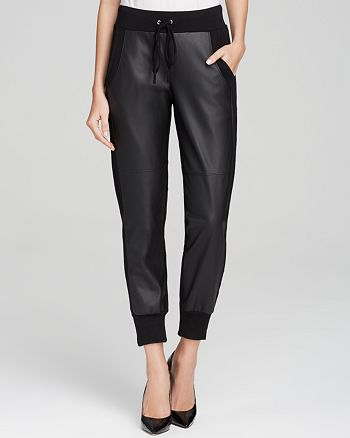 Velvet by Graham & Spencer - Faux Leather Combo Sweatpants