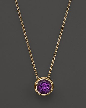 "Bloomingdale's - Amethyst Bezel Set Pendant Necklace in 14K Yellow Gold, 17""- 100% Exclusive"