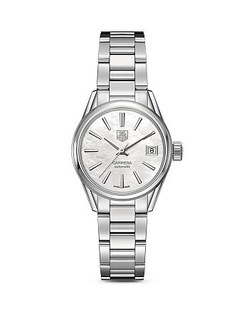 TAG Heuer - Automatic Stainless Steel and White Mother of Pearl Dial Watch, 28mm