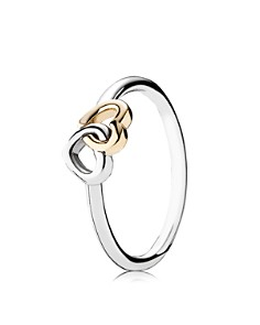 PANDORA - Ring - Sterling Silver & 14k Gold Heart to Heart