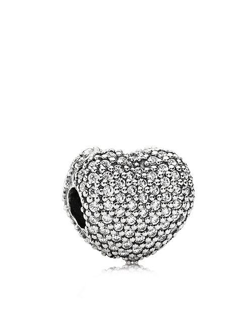 PANDORA - Sterling Silver & Cubic Zirconia Pavé Open My Heart Clip