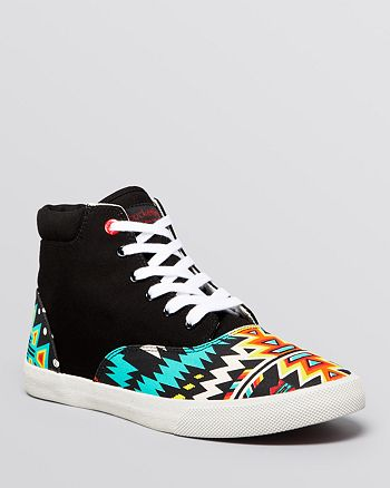 c62cb687c9 BucketFeet Flat Lace Up High Top Sneakers - Archer Tribal Print ...