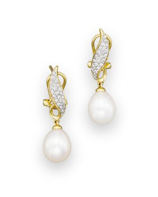 Cultured Freshwater Pearl Drop Earrings With Diamonds In 14 K Yellow Gold, 8mm   100 Percents Exclusive by Bloomingdale's