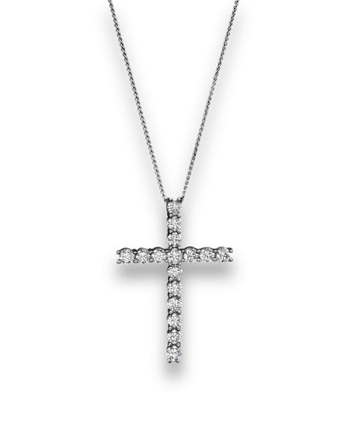 Bloomingdale's - Diamond Cross Pendant Necklace in 14K White Gold, 2.50 ct. t.w. - 100% Exclusive