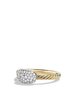 David Yurman Petite Pave Cushion Ring with Diamonds in Gold