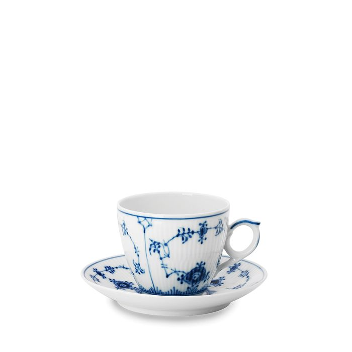 Royal Copenhagen - Blue Fluted Half Lace Cup & Saucer