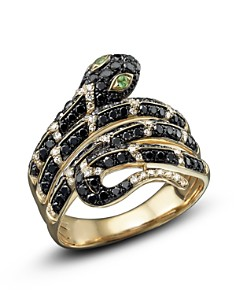 Bloomingdale's - Black and White Diamond Snake Ring with Tsavorite in 14K Yellow Gold - 100% Exclusive