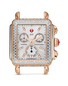 MICHELE - Deco Diamond Two-Tone Diamond Dial Watch Head, 33 x 35mm