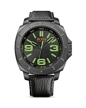 Boss Hugo Boss Orange Quartz Watch with Black Leather Strap, 52mm