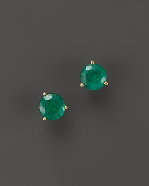 Emerald Stud Earrings in 14K Yellow Gold - 100% Exclusive
