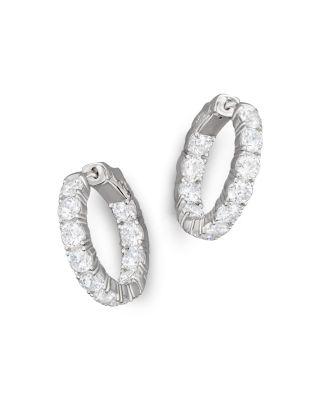Bloomingdale's CERTIFIED DIAMOND INSIDE-OUT HOOP EARRINGS IN 14K WHITE GOLD, 5.50 CT. T.W. - 100% EXCLUSIVE