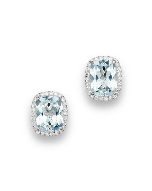 Bloomingdale's - Aquamarine and Diamond Stud Earrings in 14K White Gold- 100% Exclusive