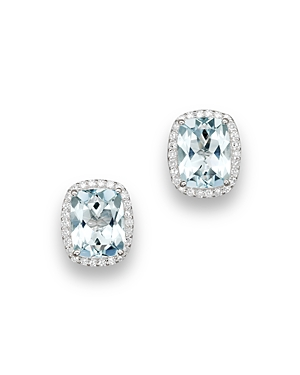 Aquamarine and Diamond Stud Earrings in 14K White Gold - 100% Exclusive