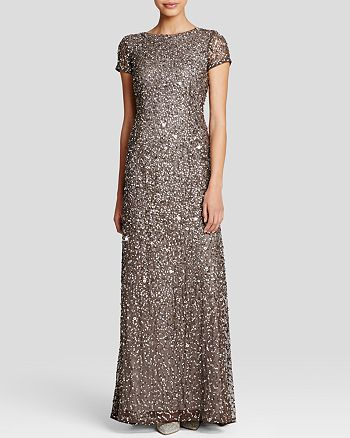 Adrianna Papell - Short Sleeve Embellished Gown