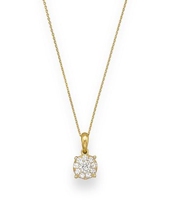 Bloomingdale's - Diamond Cluster Pendant Necklace in 14K Yellow Gold, .25 ct. t.w. - 100% Exclusive