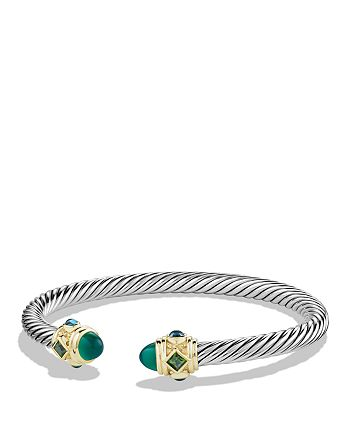 David Yurman - Renaissance Bracelet with Green Onyx, Chrome Diopside, Hampton Blue Topaz and 14K Gold