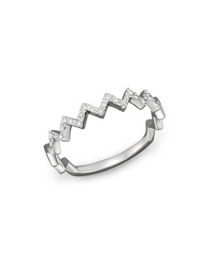 Diamond Zigzag Ring in 14K White Gold, 0.10 ct. t.w.
