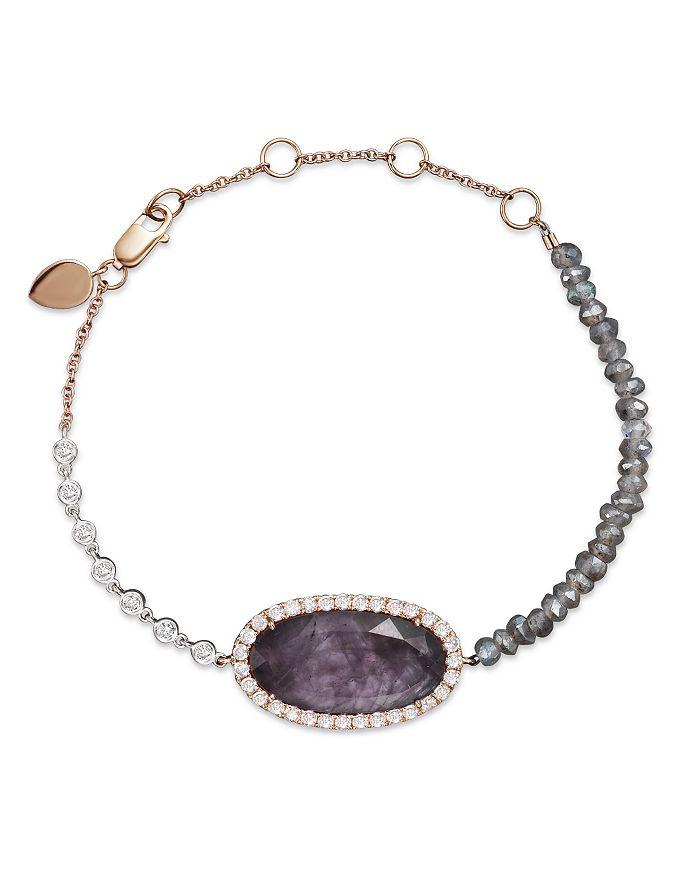 Meira T - 14K Rose Gold Rough Amethyst Beaded Bracelet with Diamonds