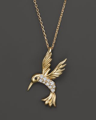 Diamond Hummingbird Pendant Necklace In 14K Yellow Gold, .09 Ct. T.W.