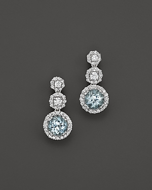 Aquamarine and Diamond Drop Earrings in 14K White Gold - 100% Exclusive