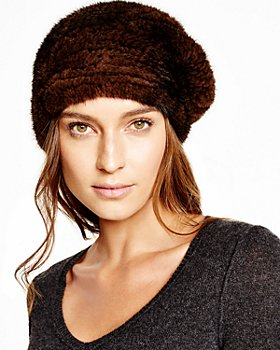 Maximilian Furs - Knitted Mink Bubble Beret