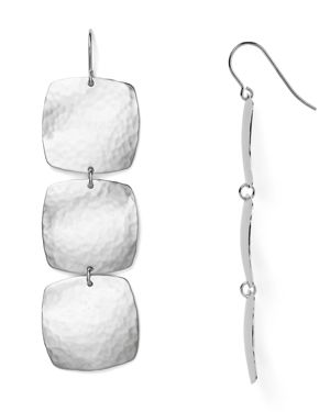 Sterling Silver Hammered Cushion Drop Earrings - 100% Exclusive