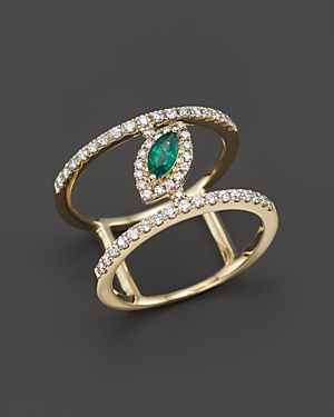 Emerald and Diamond Geometric Ring in 14K Yellow Gold - 100% Exclusive
