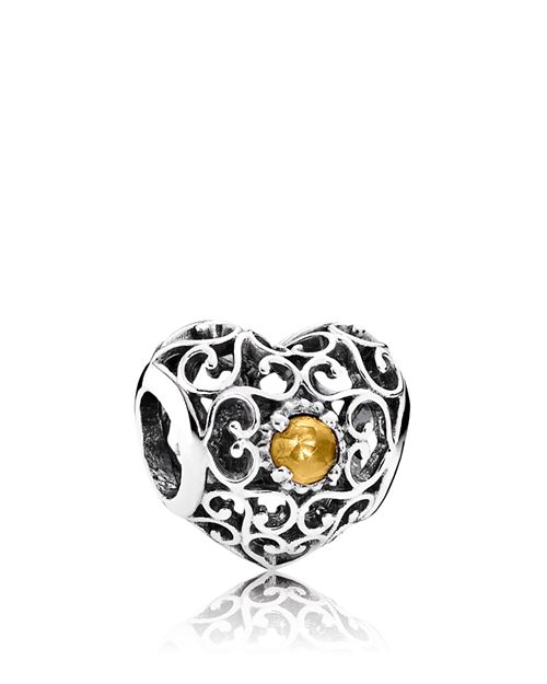 PANDORA - Sterling Silver & Citrine November Signature Heart Charm