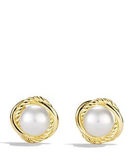 David Yurman - Infinity Earrings with Pearls in 18K Gold